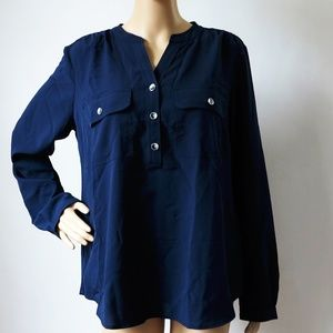 Charter Club Navy Blue Button Up Blouse Pockets M